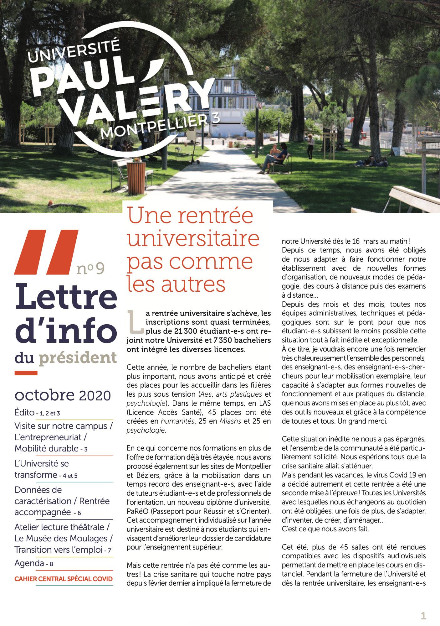 La lettre d'info du Président de l'Université Paul-Valéry Montpellier 3 page 01