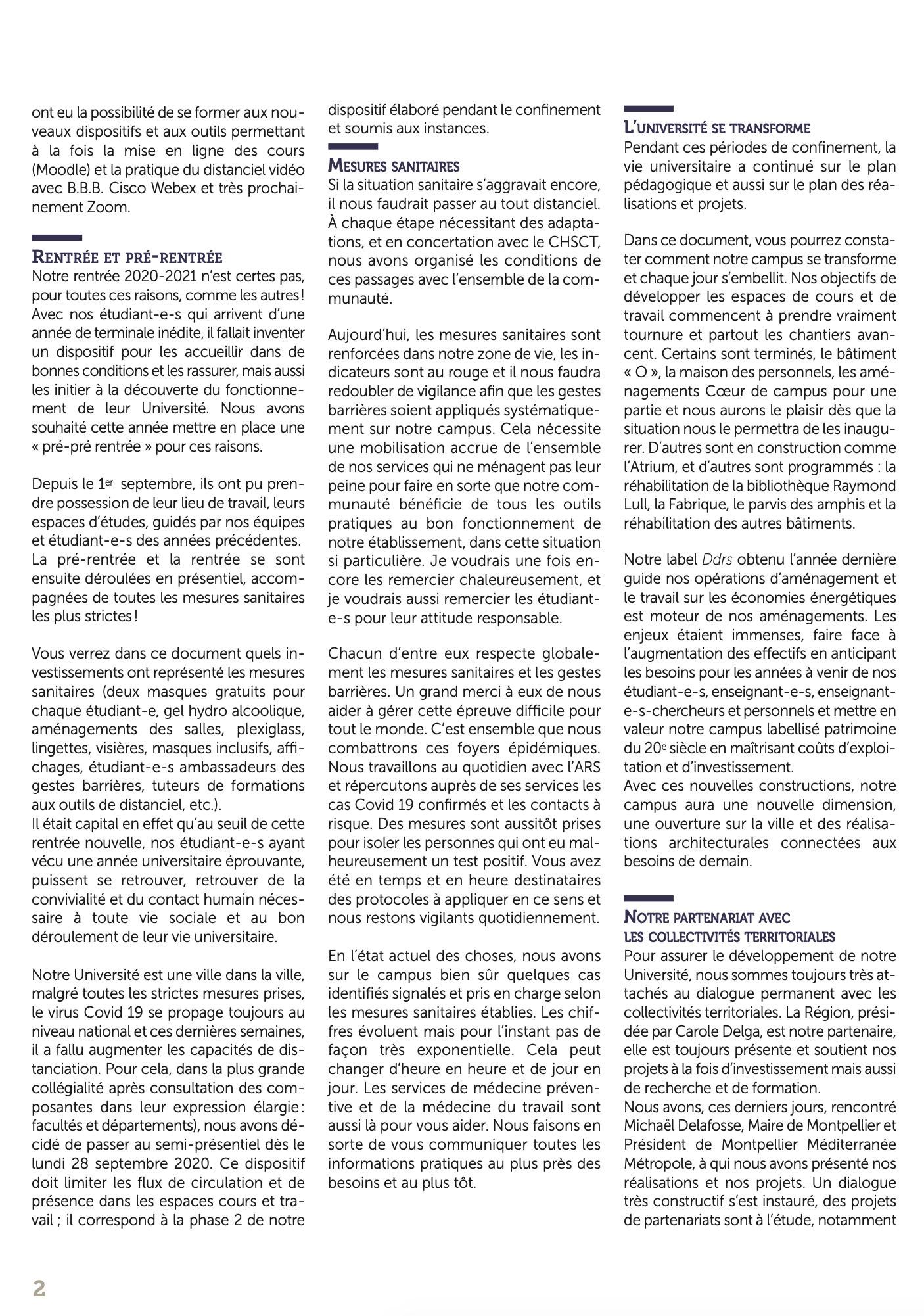 La lettre d'info du Président de l'Université Paul-Valéry Montpellier 3 page 02