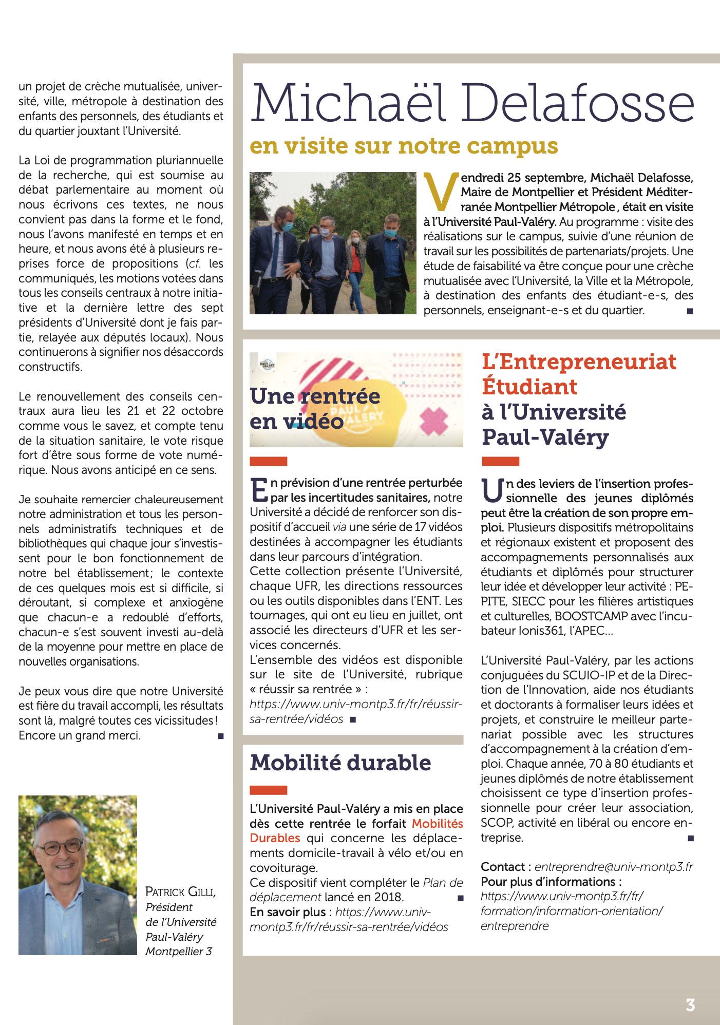 La lettre d'info du Président de l'Université Paul-Valéry Montpellier 3 page 03