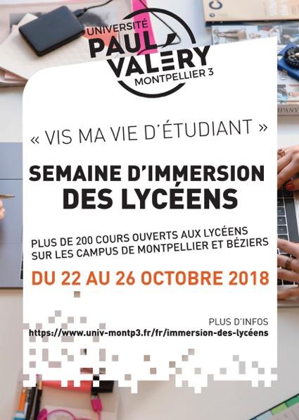 Affiche semaine d'immersion des lycéens du 22 au 26 octobre