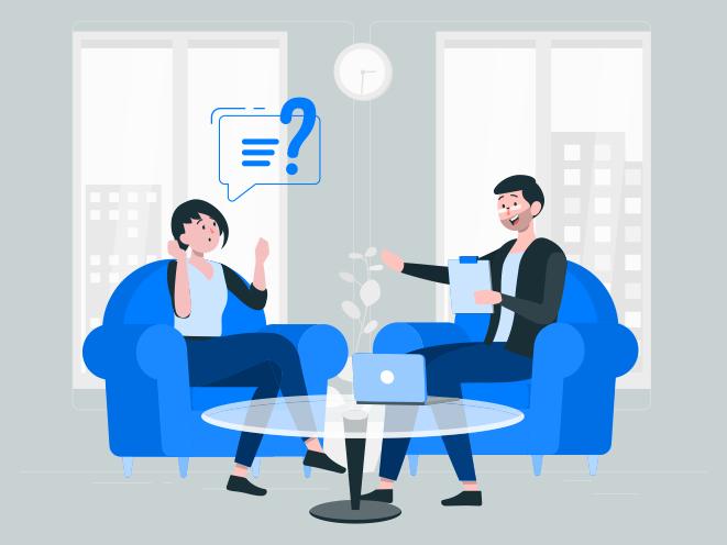 Infographie de deux personnes qui parlent