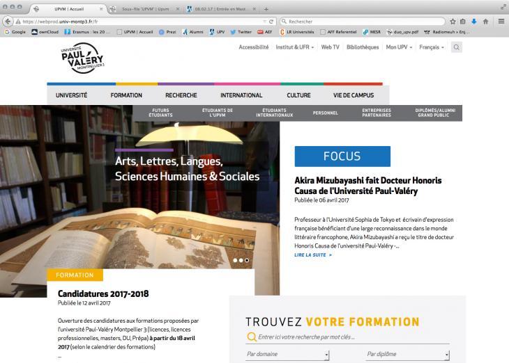 Image de l'écran d'aaccueil du nouveau dispositif web