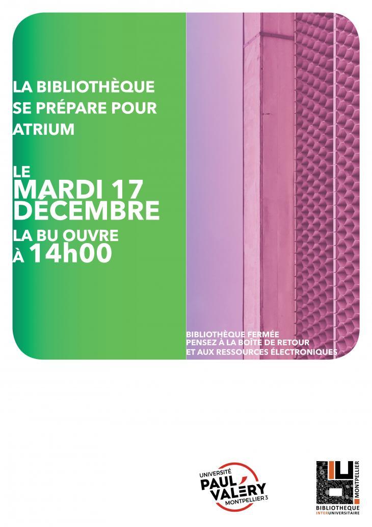 Affiche annonçant la fermeture de la BU le 17 décembre 2019