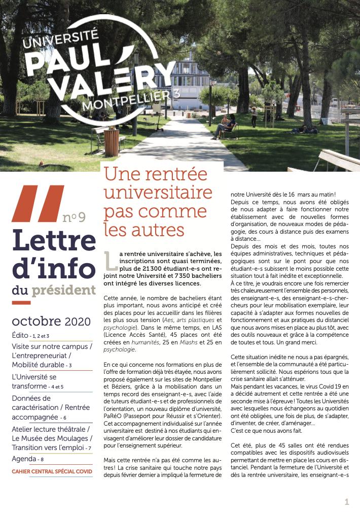 La lettre d'info du Président de l'Université Paul-Valéry Montpellier 3